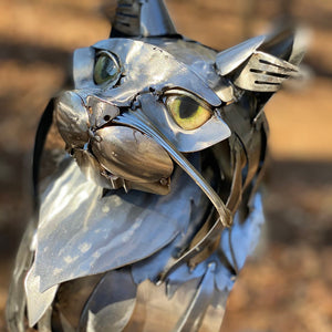 Metal Cat Sculpture with Realistic Glass Eyes