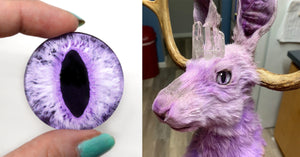 Purple Jackalope Taxidermy Art with Purple Fantasy Eyes