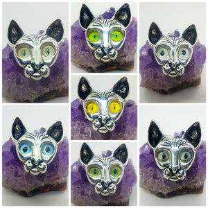 Sterling Silver Cat pendants with Realistic Glass Cat Eyes