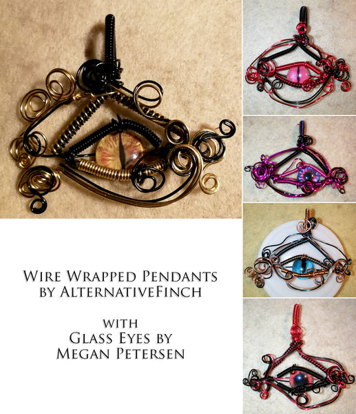 Wire Wrapped Pendants by Alternative Finch with Glass Eyes by Megan Petersen