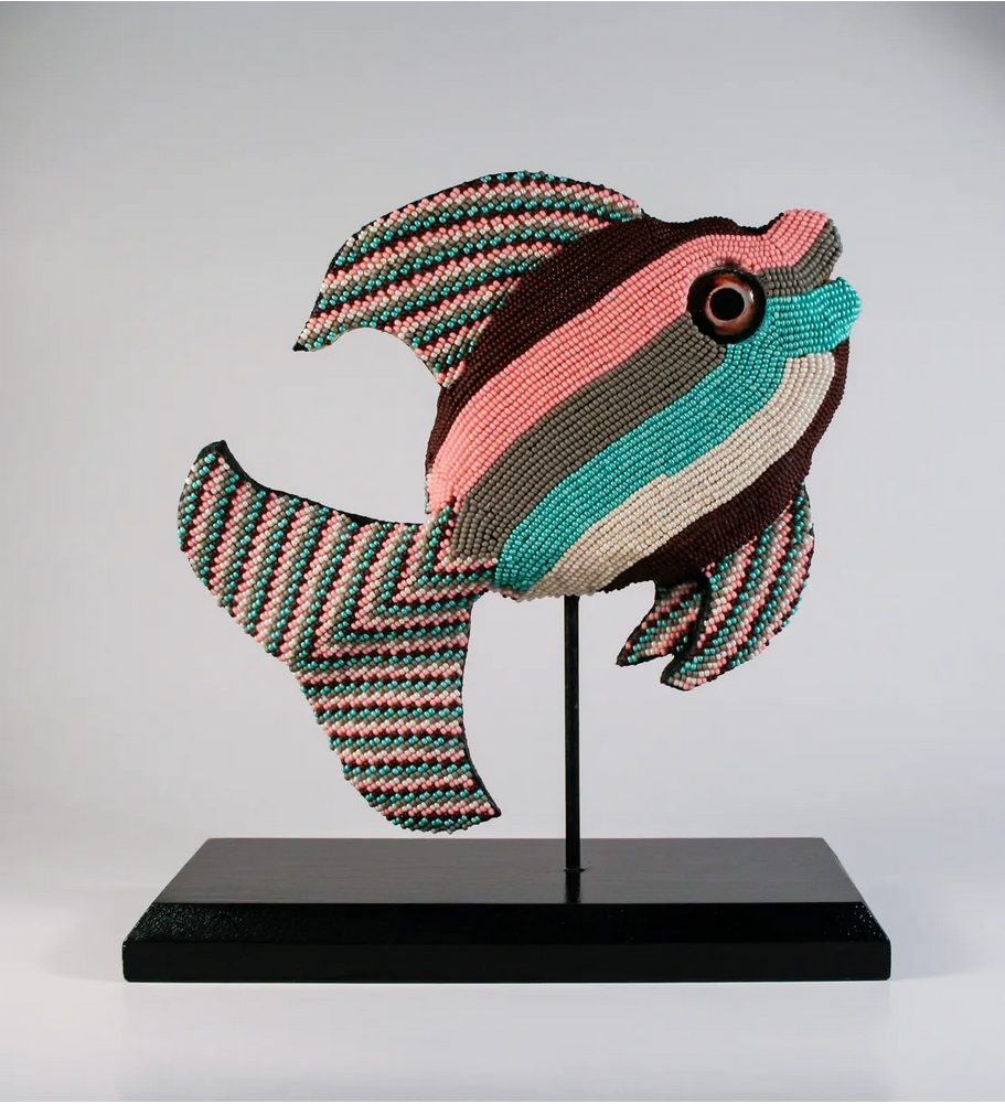 beaded fish with glass eyes