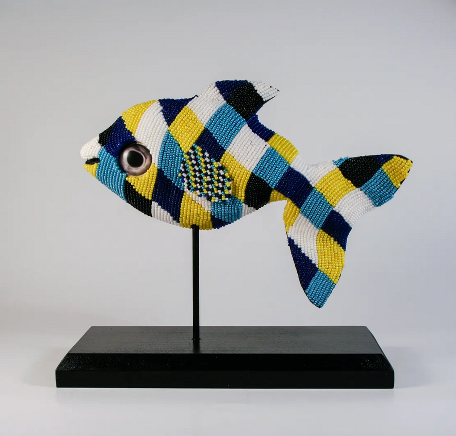 bead embroidered fish with fish eyes