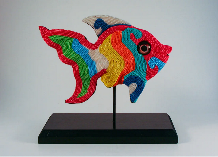 colorful beaded fish with handmade glass eyes