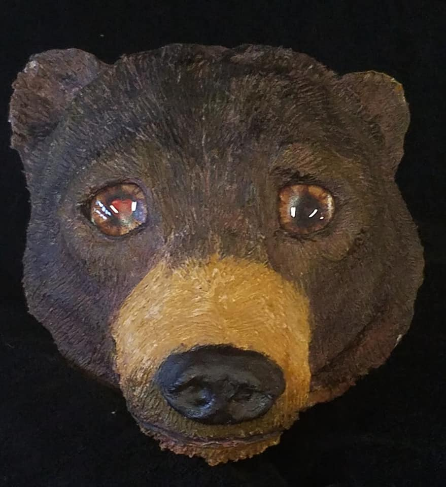 bear sculpture with animated heart glass eyes by sunset lodge creations