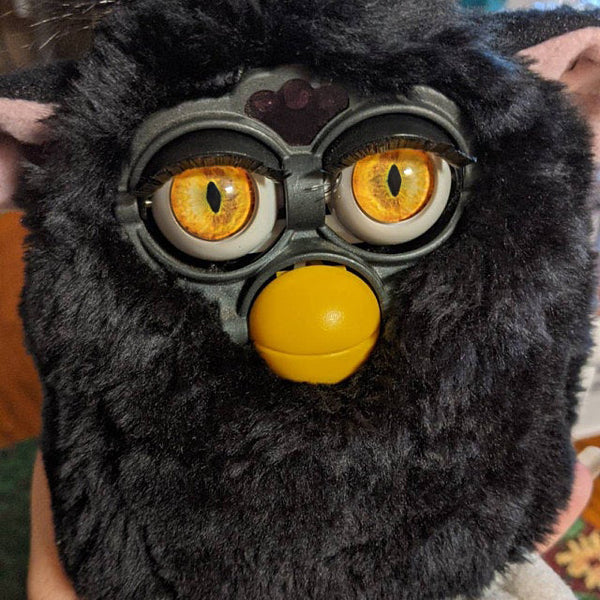 customized furby doll with glass eye chips