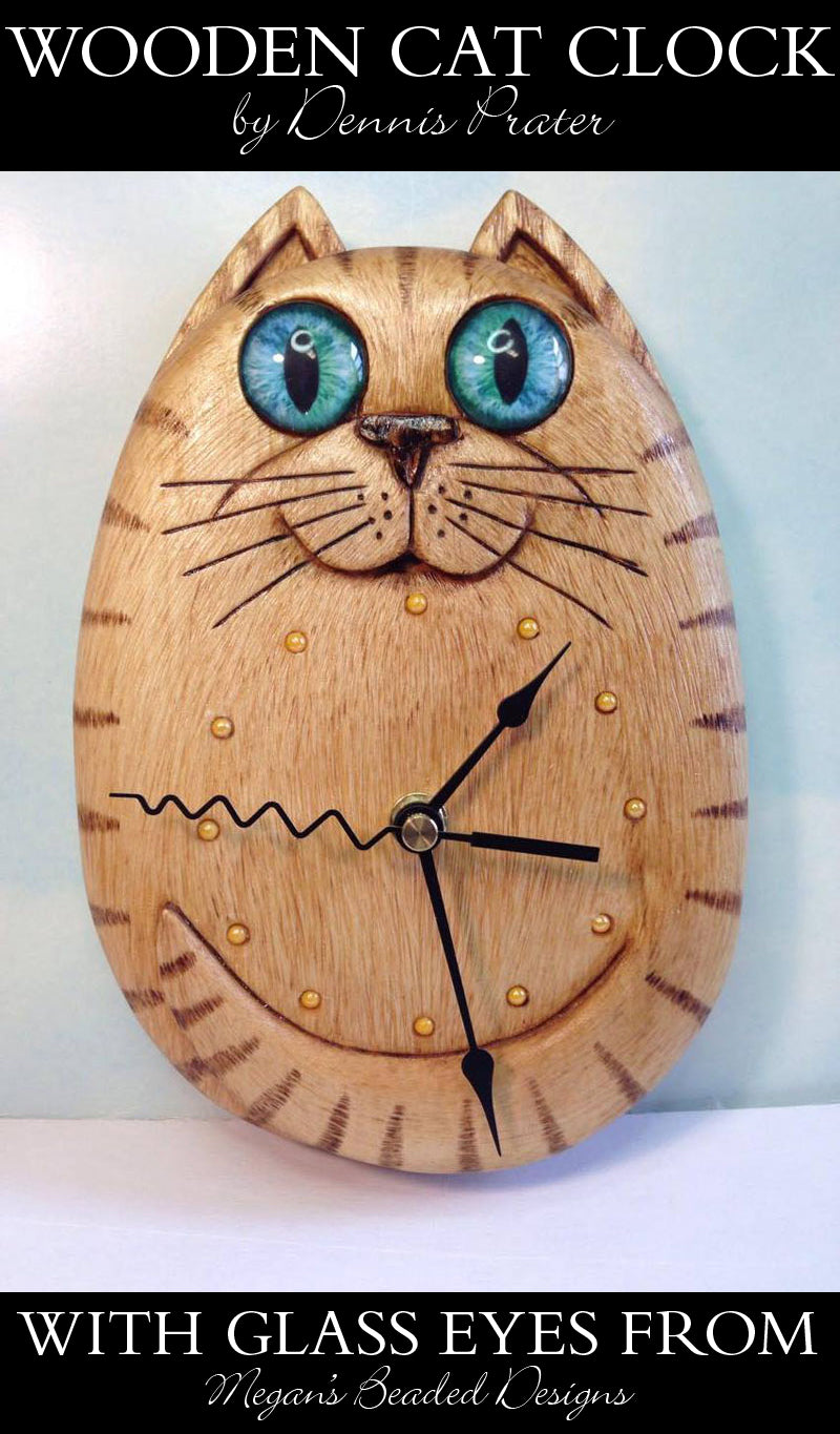 wooden cat clock