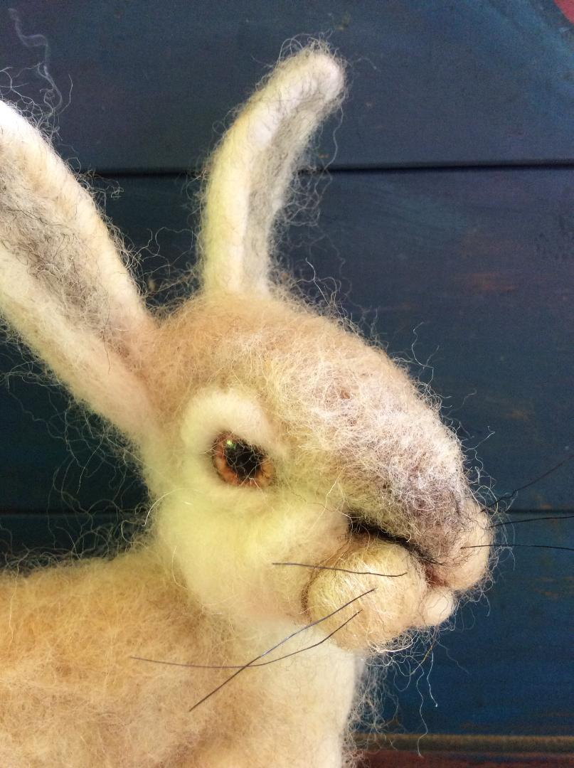 felted rabbit with glass eyes