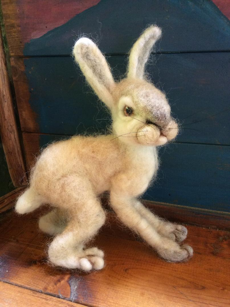 brown felted rabbit