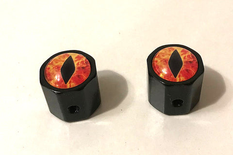 set of volume knobs with glass dragon eyes
