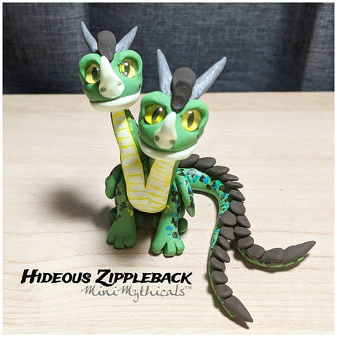 two headed polymer clay dragon