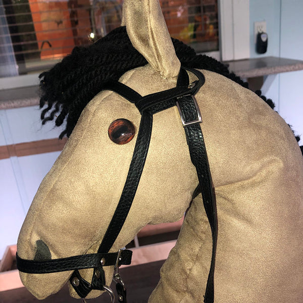 handmade hobby horse with realistic horse glass eyes