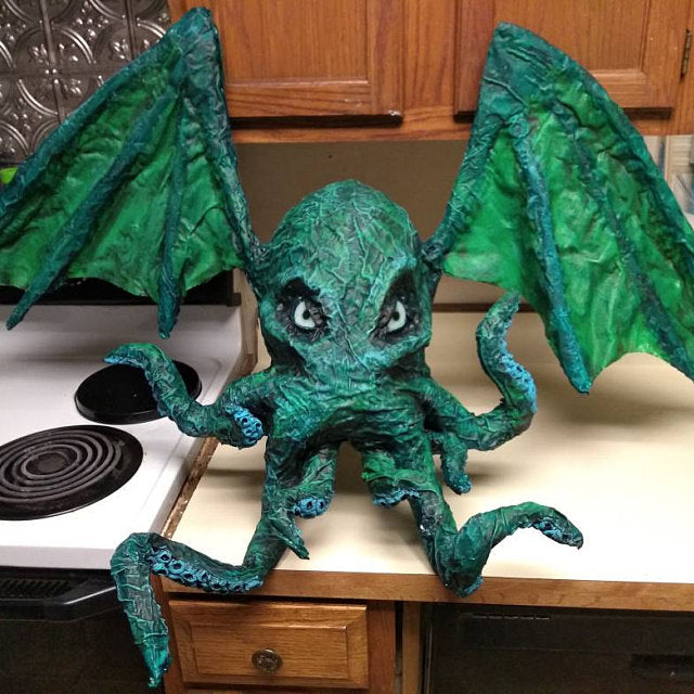 Cthulhu sculpture with handmade glass eyes