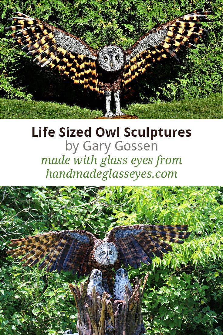 Life sized owl sculptures