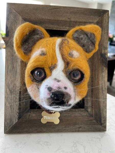 3D pet tribute dog with brown eyes