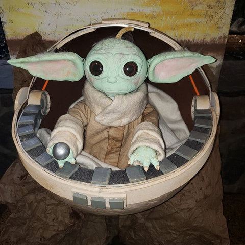 baby yoda pumpkin carving sculpture