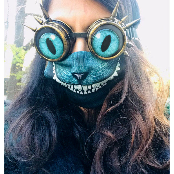 teal cheshire cat steampunk goggles