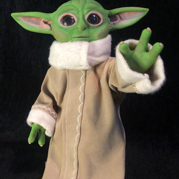 baby yoda grogu polymer clay sculpture with glass eyes