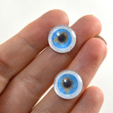 14mm Blue Human Glass Eyes with Whites