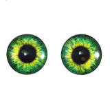 Bright Green Clockface Steampunk Glass Eyes