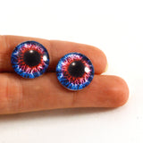 16mm Blue and Red Fantasy Glass Eyes