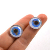 16mm Blue Human Glass Eyes with Whites