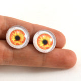 16mm Orange and Yellow Human Glass Eyes with Whites