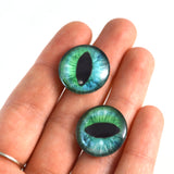 Cheshire Cat Glass Eyes in Blue and Green