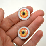 20mm Orange and Yellow Human Glass Eyes with Whites