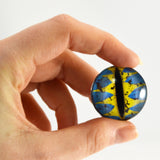Blue and Yellow Fantasy Dragon Glass Eye