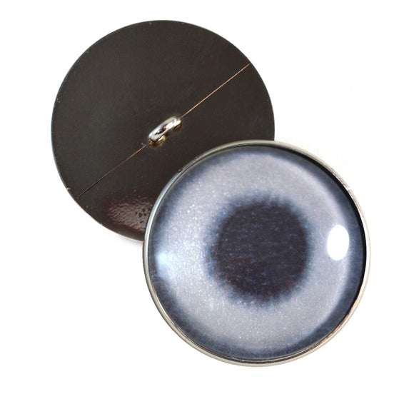 Sew On Buttons Metallic Silver Glass Eyes
