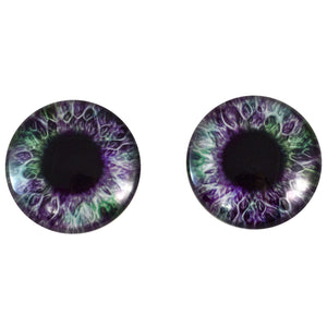 purple and green glass eye
