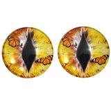 Yellow Dragon Glass Eyes with Monarch Butterflies