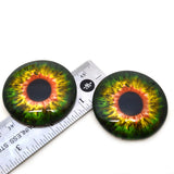 Sensational Green and Orange 50mm Glass Eyes