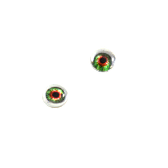 6mm Orange and Green Fantasy Doll Glass Eyes with Whites
