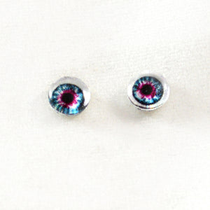 6mm Pink and Blue Doll Glass Eyes with Whites