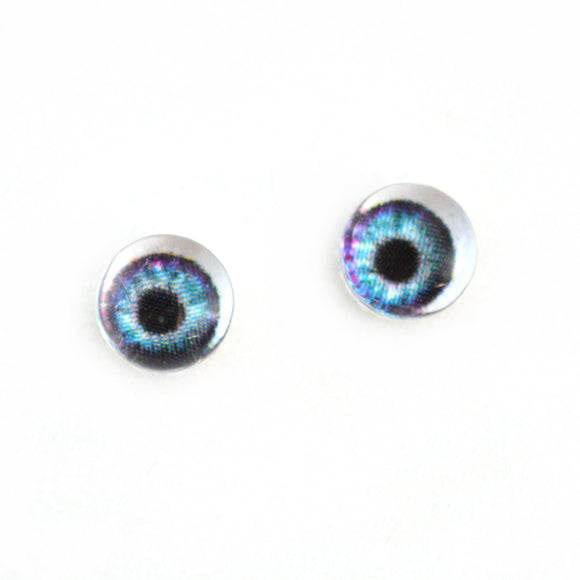 Little 6mm Purple and Teal Doll Glass Eyes with Whites