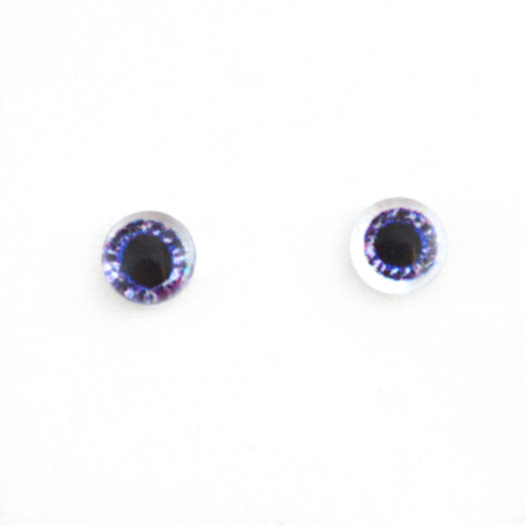 Sparkling 6mm Dark Purple Doll Glass Eyes with Whites