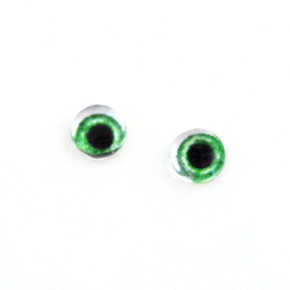 6mm Wide Green Doll Glass Eyes with Whites