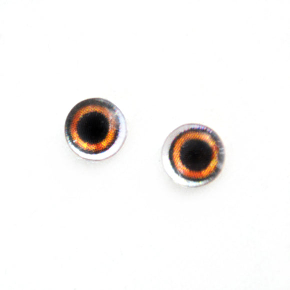 6mm Wide Brown Doll Glass Eyes with Whites