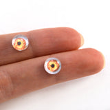 8mm Orange and Yellow Human Glass Eyes with Whites
