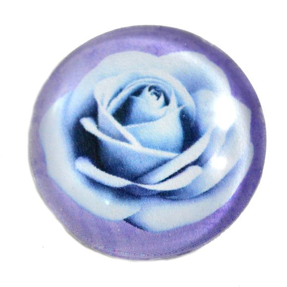 Light Blue Rose Glass Cabochon