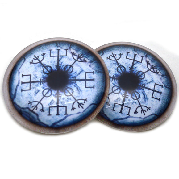 Blue Viking Compass Wolf Vegvisir Glass Eyes