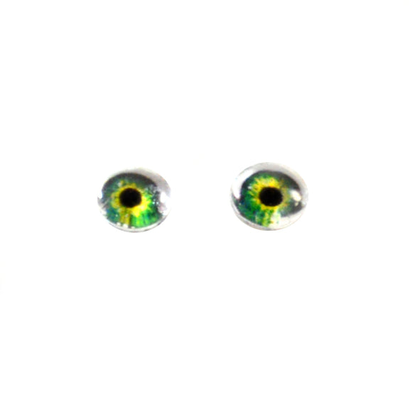 6mm Bright Green Doll Glass Eyes with Whites