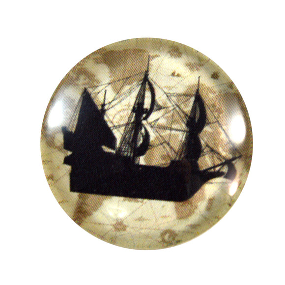 Vintage Ship Glass Cabochon