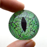 Electric Lime Green Raptor Dinosaur Glass Eye