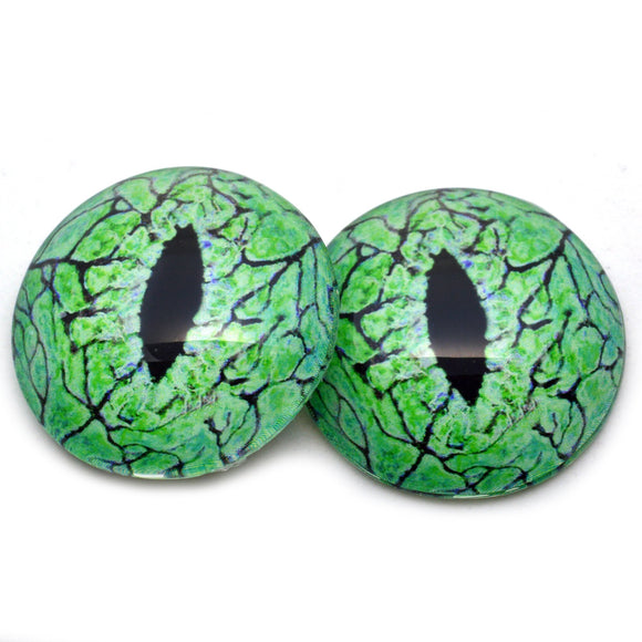 Electric Lime Green Raptor Dinosaur Glass Eyes