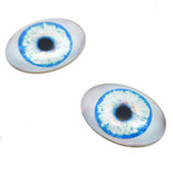 glow in the dark blue doll oval glass eyes