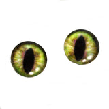 Green and Brown Dragon or Cat Glass Eyes