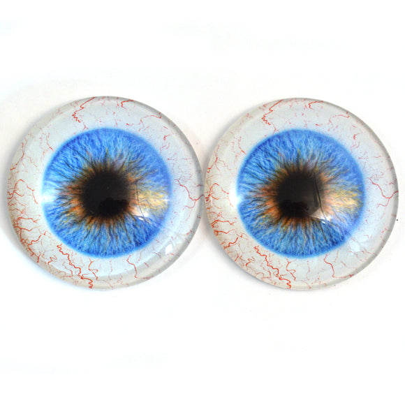50mm Blue Human Glass Eyes - Large 2 Inch with Scleras