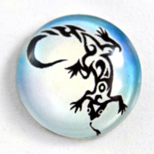 Tribal Lizard Glass Cabochon